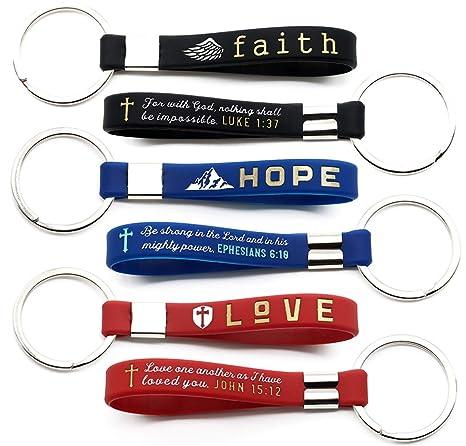 (12-Pack) Faith Hope Love Christian Keychains with Bible Verses - Wholesale Bulk