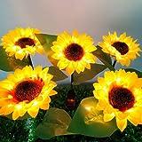 Sunflower Solar Lights Outdoor, 2pcs LED Lawn for Outdoor Garden Outdoor Garden Powerful Sunflower Solar Lamps Night Light, f