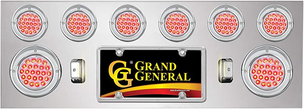 GG Grand General 91590 Red//Clear Chrome Plated Light Panel with 4 inches and 2-1//2 inches Pearl LED U Bracket