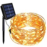 Dolucky Solar String Lights, 150 LED Solar Fairy Lights 55 ft 8 Modes Powered Copper Wire Lights Waterproof Outdoor for Garden Patio Gate Yard Party Wedding (Warm White)