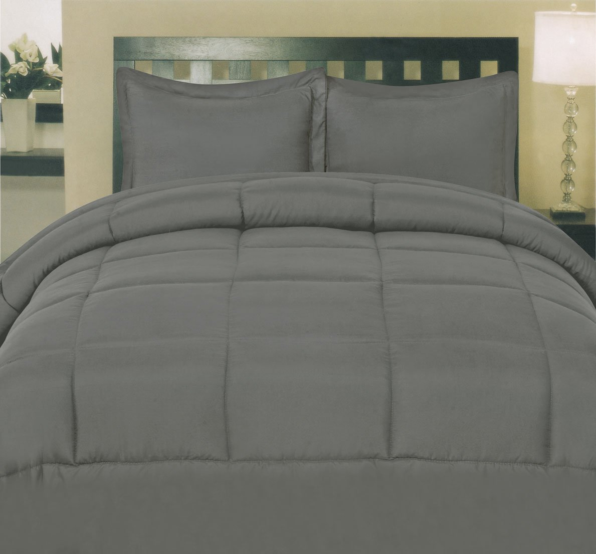 Sweet Home Collection White Goose Down Alternative Comforter King Gray New Ebay