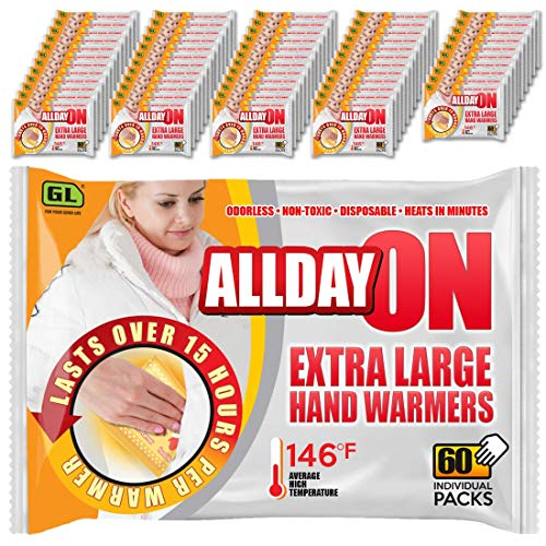 60-Pack XL Super Hand Warmers - Longer-Lasting (15+ Hours), Extra-Hot, Air-Activated ()