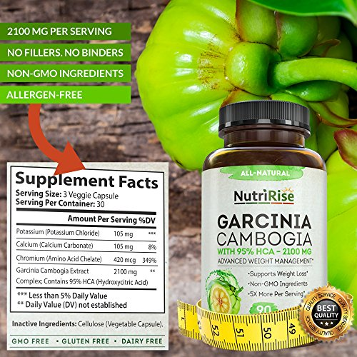Pure Garcinia Cambogia Extract – with 95% HCA – Best Appetite Suppressant & Carb Blocker for Clinically Proven Weight…