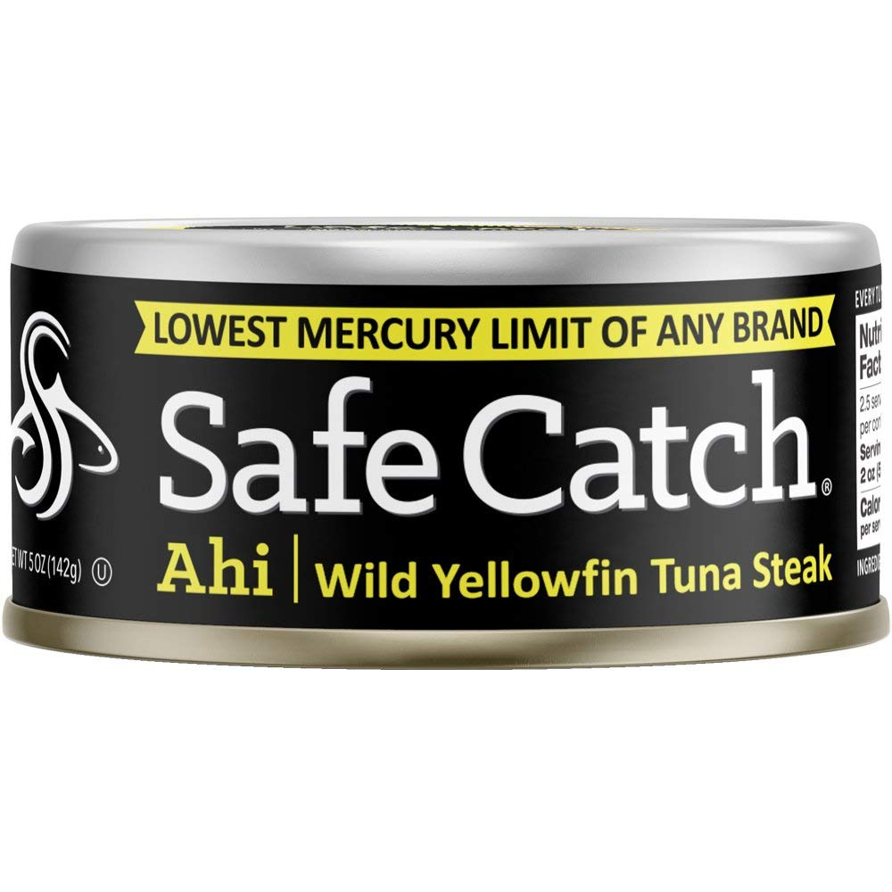 Safe Catch Ahi, Lowest Mercury Solid Wild Yellowfin Tuna Steak, 5 oz Can. The Only Brand to Test Every Tuna for Mercury (Pack of 6) by Safe Catch (Image #1)