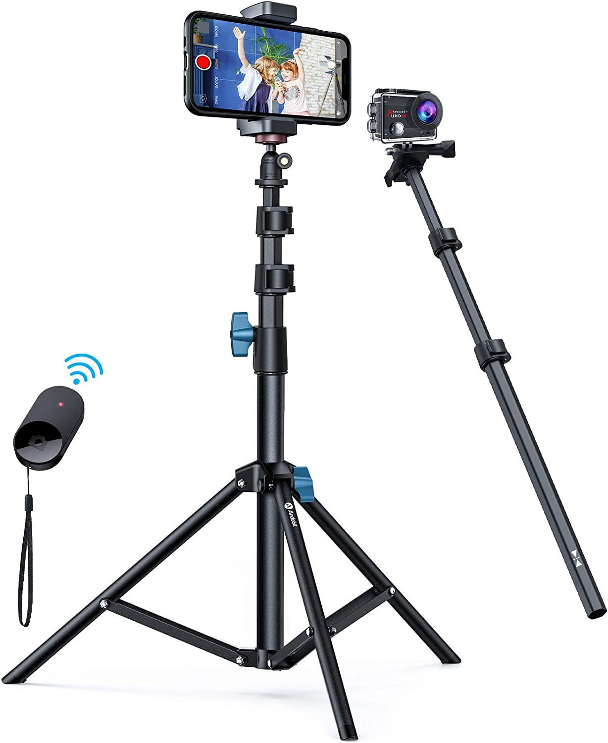 New Andobil 62'' Selfie Stick Tripod Stand with Bluetooth Remote, 3-in-1 Versatile Sturdy Phone Tripod & Flexible Phone Holder Compatible iPhone 12 Pro Max/11/X/8, Samsung,Camera,Heavy Duty [with Bag]