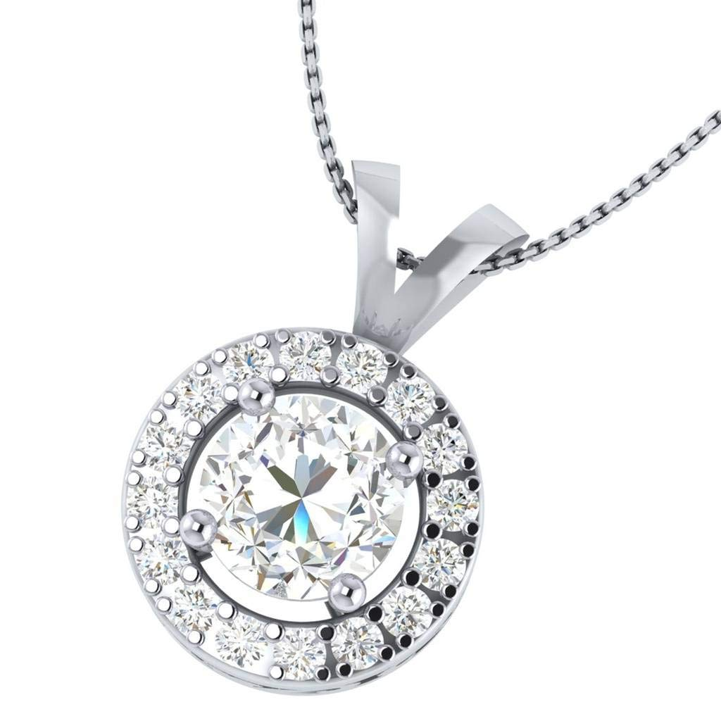 Hanssini Jewels 14k White Gold Plated 1.75 CT Round Cut Clear CZ Halo Pendant Necklace 18 Chain