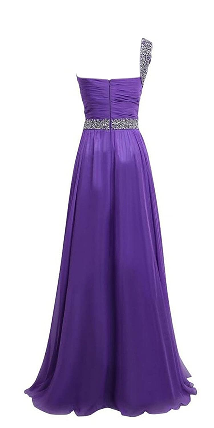 AngelDragon Women's Beaded One-Shoulder Chiffon Prom Gowns Evening Dress