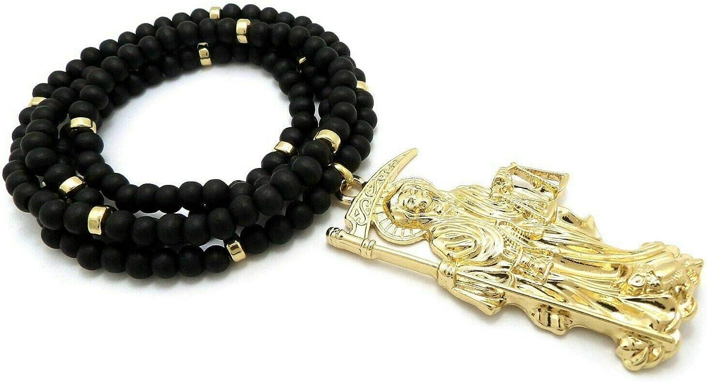 Hip HOP Gold Plated Santa Muerte Pendant /& 30 Black Wooden Bling Necklace