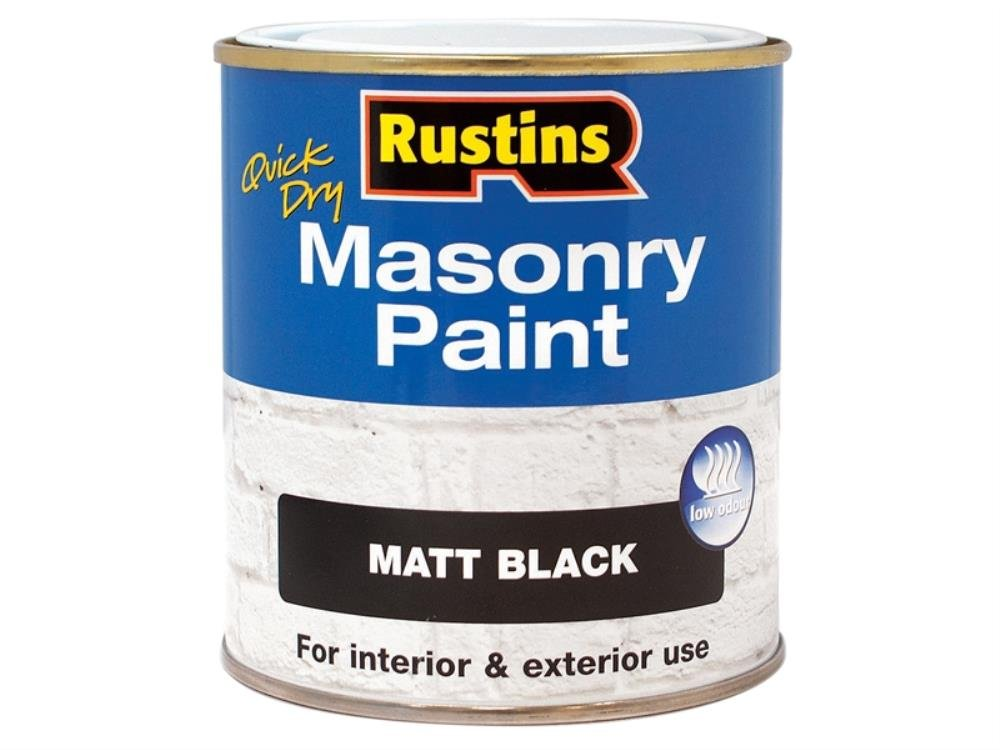 Rustins MASPB250 Masonry Paint Black 250ml, 250