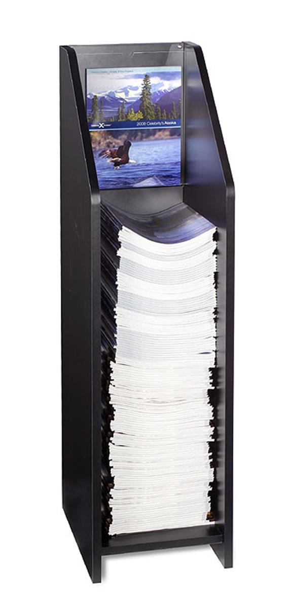 Displays2go Literature Floor Stand for 9 x 12 Inches Catalogs, Clear Acrylic Header Included - Black Melamine (BDIF912BLK)