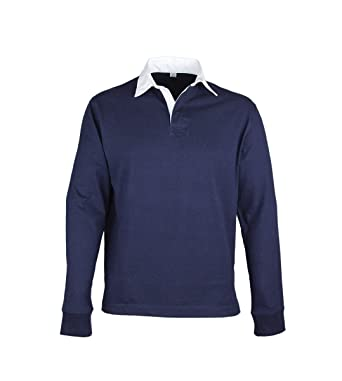 eac74a48287346 Mens Long Sleeve 100% Cotton Plain Rugby Shirts (No Logos) (Large, Navy):  Amazon.co.uk: Clothing