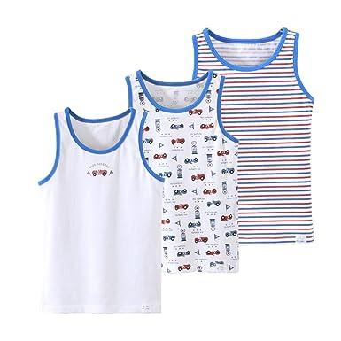 0221229cf3491 YuanDiann Garçons EnfantsMaillots de Corps sans Manches Top Impression Coton  Élastique Respirant Enfant sous Vetement T