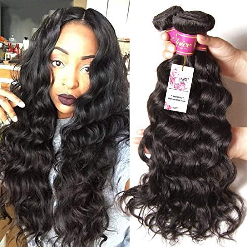 Unice Hair Brazilian Natural Wave 4''x4'' Free Part Lace Closure with 3 Bundles Hair Weft 100% Virgin Human Hair Natural Color (18 20 22+14Closure) by UNICE