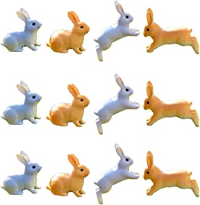 Beauy Girl 12 Pcs Fairy Garden Miniature Rabbit Figure Miniature Animal Figures Mini Bunny Figurines Mini Figure Collection Playset, Rabbit Cake Topper, Rabbit Cake Decoration