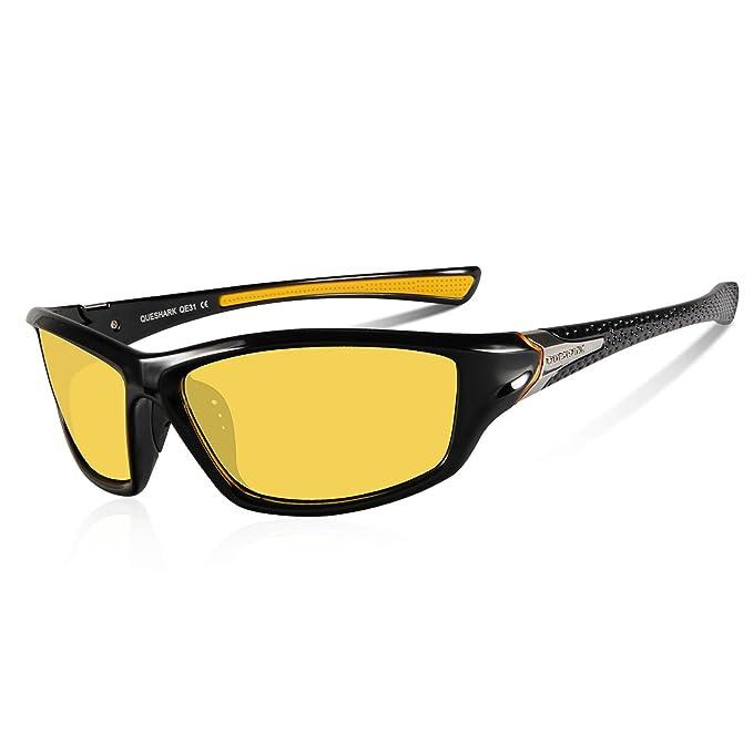 Queshark Gafas de Sol Deportivas Polarizadas Para Hombre Perfectas Para Esquiar Golf Correr Ciclismo TR990 Súper Liviana Para Hombre y Para Mujer