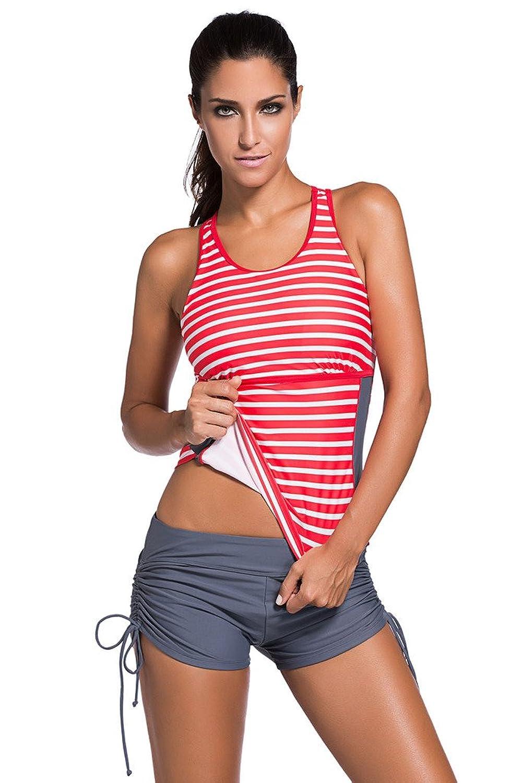 HOTAPEI Bathing Suit Women 2 Piece Tankinis Swimwear Red Stiped Medium at Amazon Women's Clothing store