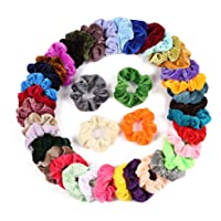 DAYONG 40PCS Hair Scrunchies Velvet Elastics Circle Hair Decoration Concise Hair Scrunchy Retro Stytle Elastics for Women and Girl