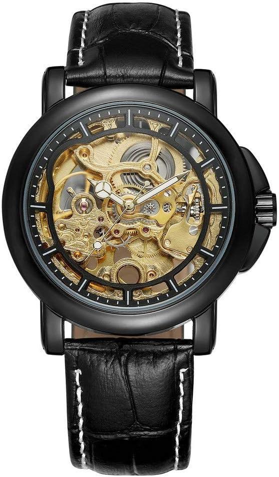 Yikuo Reloj Mecánico para Hombres/Moda Hueco A Través De La Parte Inferior De La Mesa De Cinturón De Negocios/Diseño Impermeable De 30 M/Buen Material, Práctico Y Duradero Delicado (Color : Black)