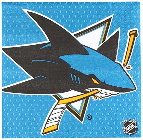 NHL Hockey Sports San Jose Sharks Party Luncheon Napkins, Saver Pack Of 6 (Each Includes 16 Pieces), Paper, by Amscan by Amscan