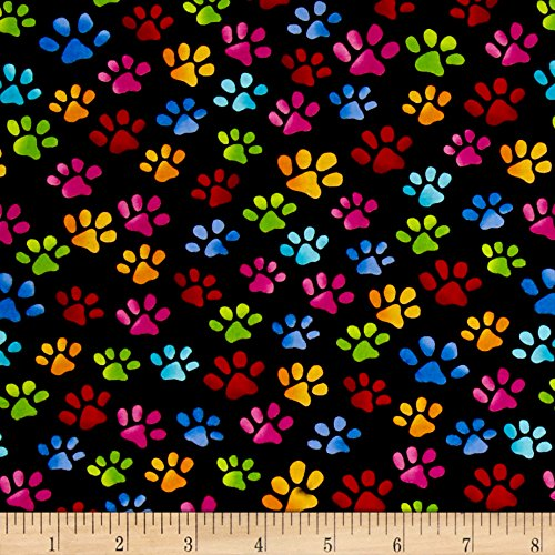 Loralie Designs Cool Cats Paws Black Fabric by The Yard