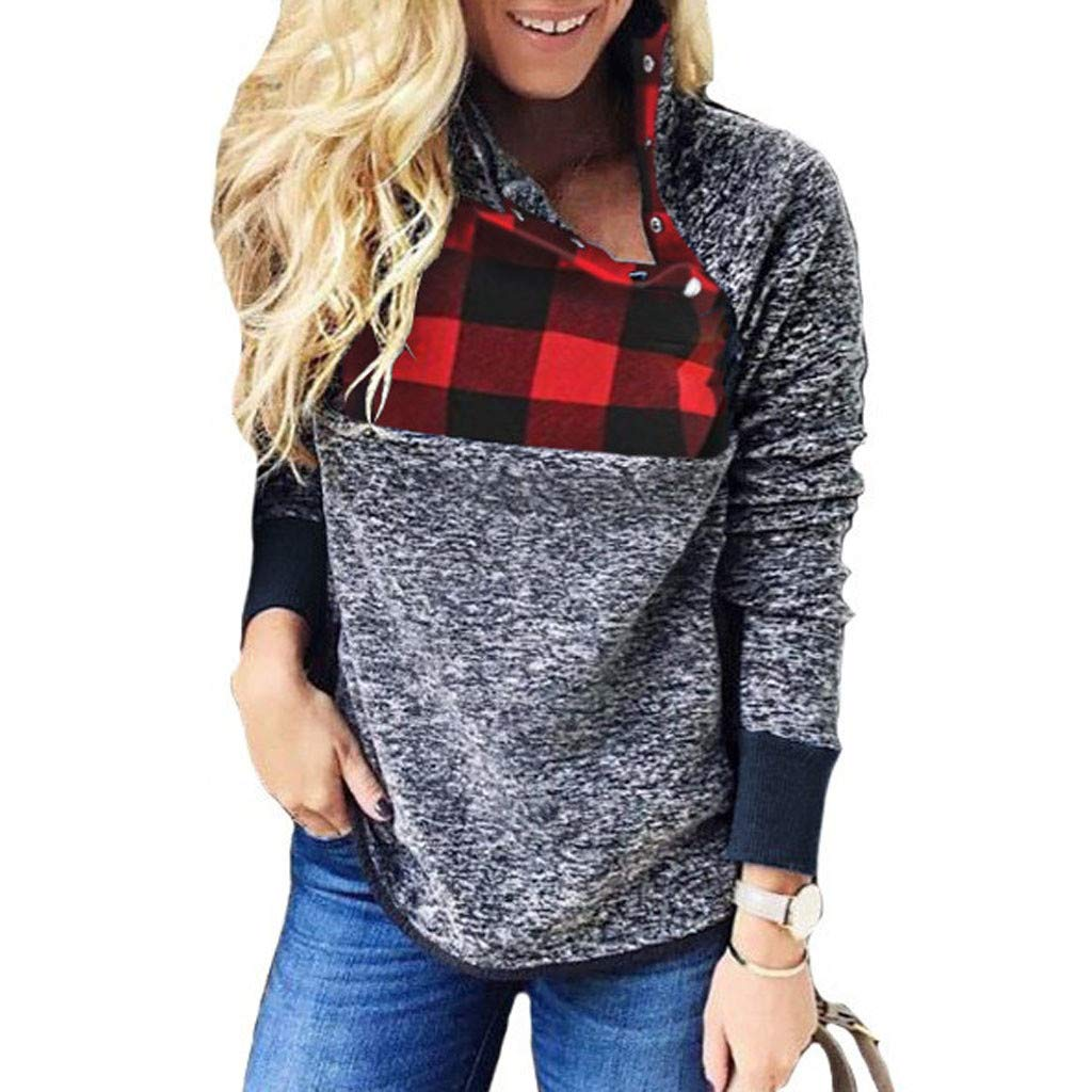 Women Ladies Soft Plaid Splice Fleece Long Sleeve Warm Sweatshirt High Neck Button Down Pullover Shirts (L, Gray) by Cotonie