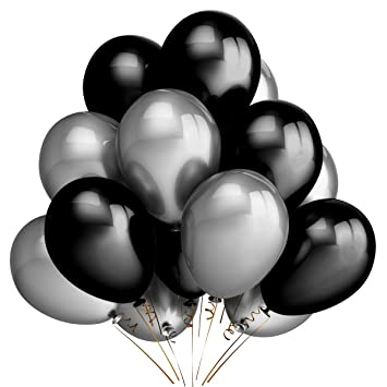 Amazon party balloons decoration100 pack 12 inches silver party balloons decoration100 pack 12 inches silver black balloons for christmas birthday wedding junglespirit Gallery