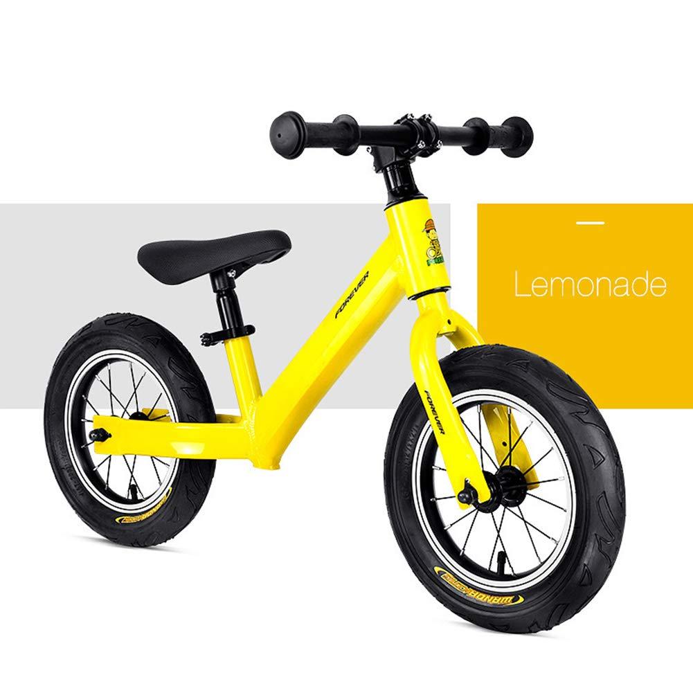 1-1 Biciclette Senza Pedali per Bambini Prima Bicicletta Leggera Regolabile Lega di Alluminio Ruota pneumatica Sterzo limitato BMX 14in,giallo