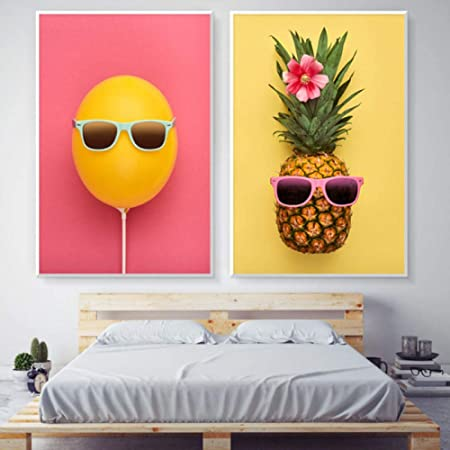 wymhzp Lienzo Abstracto Pintura Fruta Piña Naranja Gafas ...