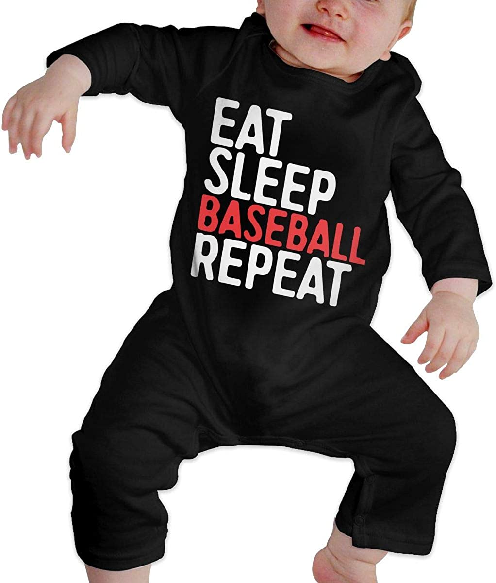 Eat Sleep Baseball Repeat Organic One-Piece Bodysuits Coverall Outfits BKNGDG8Q Baby Boys Romper Jumpsuit