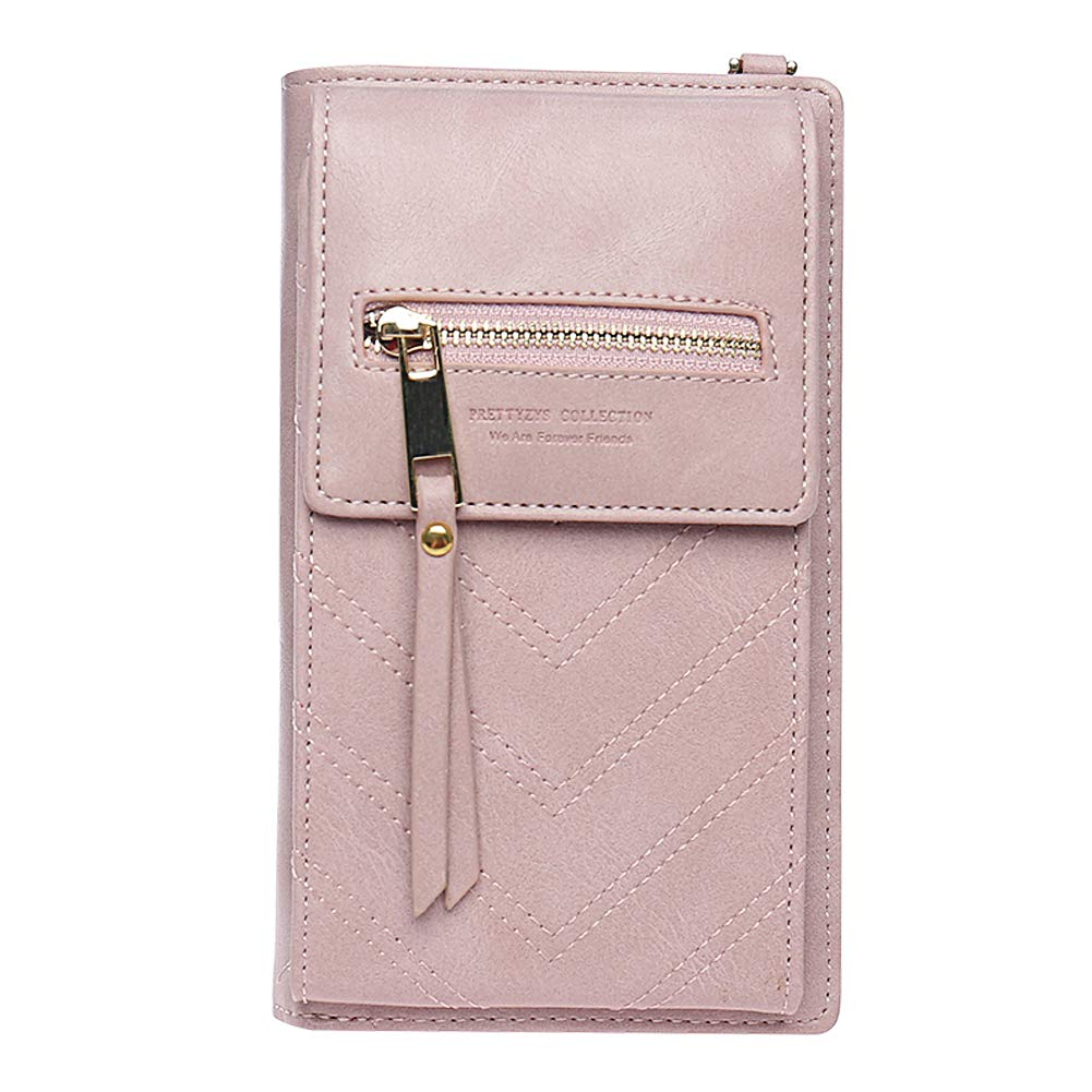 Kukoo Small Crossbody Bag Cell Phone Purse Wallet with Credit Card Slots for Women (B-Pink)