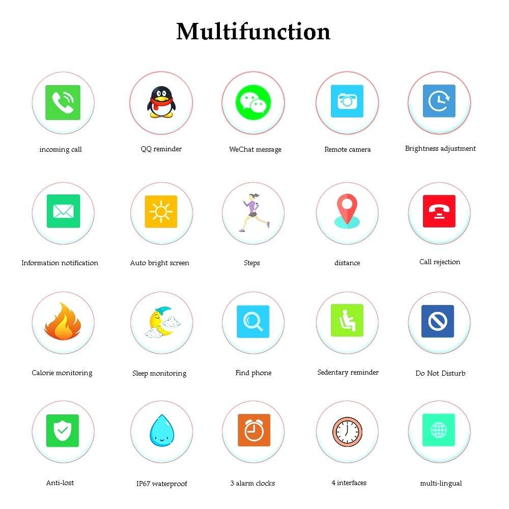 Xiao huang li klockor fitness tracker/multifunktion/informationsmeddelande/vattentät/anti-förlorad/flerspråk/flickklocka/röd, lila, blå, vit (färg: Lila) röd