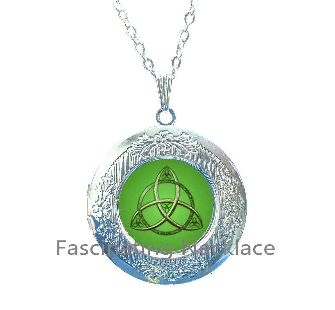 Celtic Knot Locket Necklace,Celtic Choker Trinity Knot Choker,Trinity Symbol,AQ211 Celtic Knot Triquetra Choker Locket Necklace Celtic Trinity Choker