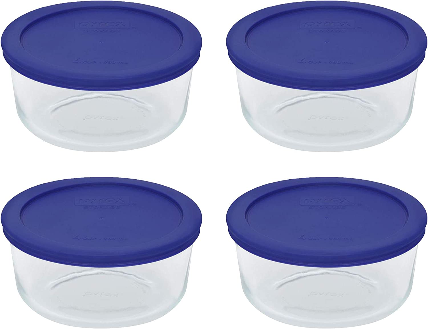 Pyrex Storage 4-Cup Round Dish, Clear with Cadet Blue Plastic Lids, Pack of 4 Containers