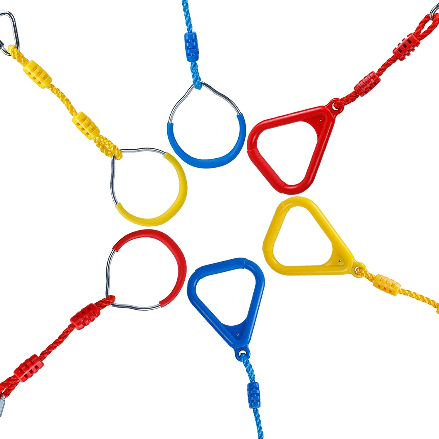 6 Obstacles XMSound Ninja Line Accessories 3 Circular and 3 Triangular Colorful Gym Ring Attachments for Obstacle Course