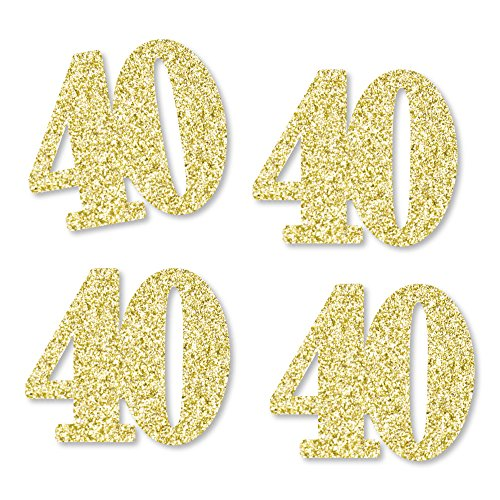 Gold Glitter 40 - No-Mess Real Gold Glitter Cut-Out Numbers - 40th Birthday Party Confetti - Set of - 40 Glitter