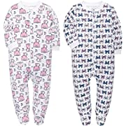 YXD Baby Girls 2-Pack Snug Fit Footed Pajamas 100% Cotton Blanket Sleeper Printing Kitty and Bow