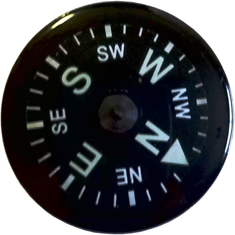 An image of a button compass in typical yellow-green text descriptions.