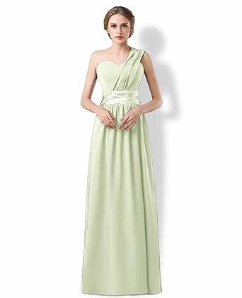 One Shoulder Bridesmaids Ballgown Evening Prom Gown Dresses Pastel ...