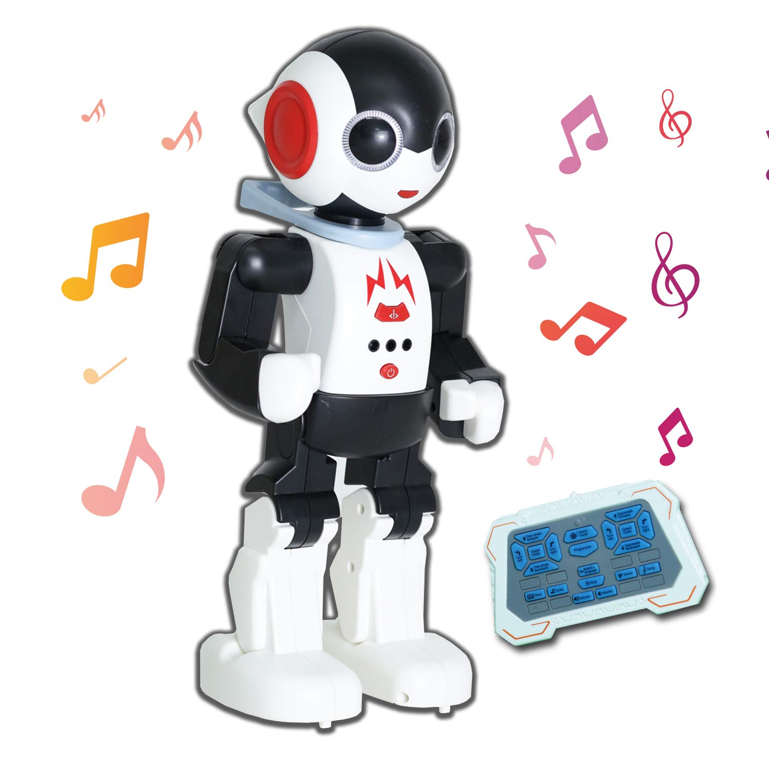 YARMOSHI Remote Control Intelligent Robot Toy - Walking, Talking, Dancing, Singing with Flashing Lights and Volume Control. USB Charging. Fun Gift for Girls and Boys Age 5+. by YARMOSHI