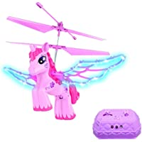 Haktoys Magical 2-in-1 RC & Induction Pink Unicorn Helicopter for Girls | with Colorful LED Lights and Music (On/Off Switch for Quiet Play), Remote Radio Control Aircraft for Indoor Flight