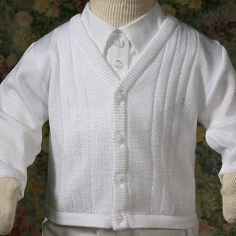 Baby Boys Cute Soft White Knit Baptism Christening Sweater Top 3M Little Things Mean A Lot CKBOYS03