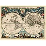 Old International Maps - THE WORLD BY WILLEM JANSZOON BLAEU 1662 - Glossy Satin Paper