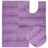 Garland Rug 3-Piece Essence Nylon Washable Bathroom Rug Set, Purple
