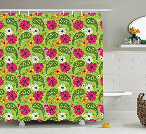 [Paisley Decor Shower Curtain Set Bright Floral Pattern with Vivid Paisley Print Old Vintage Boho Style Decor Bathroom Accessories Pistachio Pink] (Vintage Paisley Print Costumes)