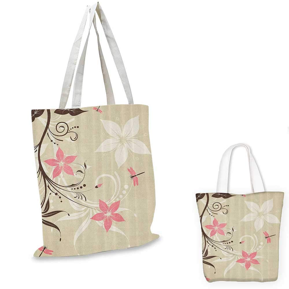 15x15-11 Country Decor portable shopping bag Floral Background With Dragonflies And Spiral Fashioned Foliage Bud Elements Artsy Print shopping bag for women Brown Tan