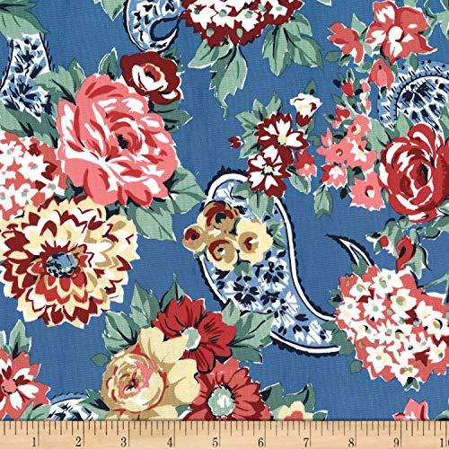 Michael Miller Kashmir Gardens Kashmir Rose Fabric, Denim, Fabric By The Yard