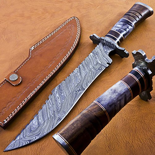 (BK-3039 Handmade Damascus Steel 15 Inches Damascus Steel Bowie Knive - Beutifull Rose Wood Bone & Bull Horn Handle)
