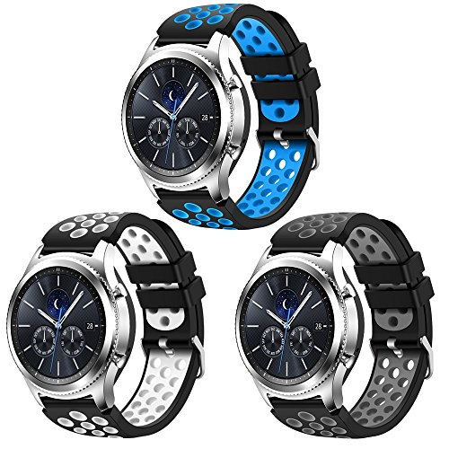 CreateGreat for Samsung Gear S3 Frontier and Classic Watch, Soft Replacement Breathable Sport Bands with Air Holes for Samsung Gear S3 Smart Watch Band(3 Pack)