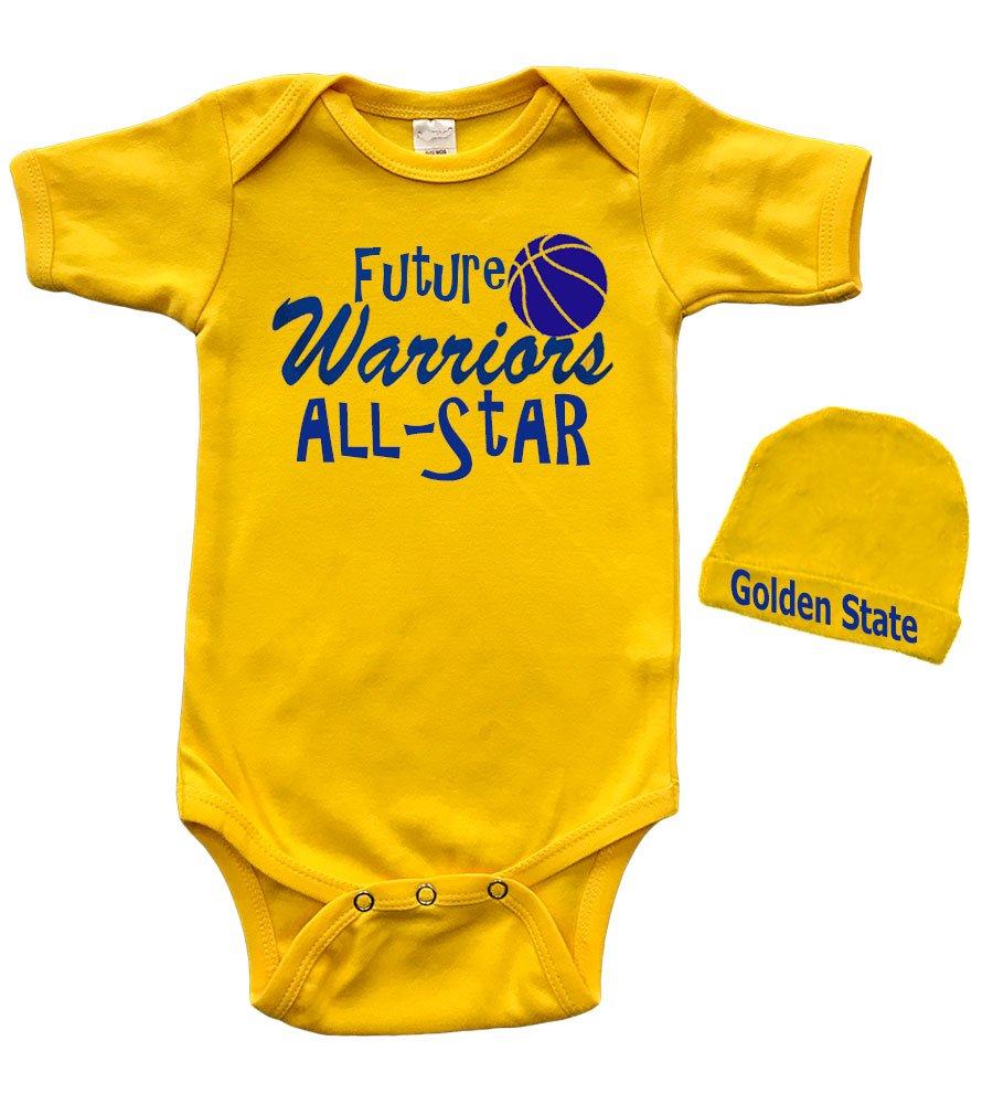 PandoraTees Short Sleeve Onesie & Cap Set - Future Warriors All-Star (0-3m, Yellow)