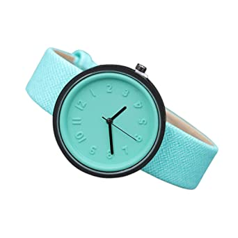 Unisex Simple Fashion Number Watches Quartz Canvas Belt Wrist Watch LEEDY (Rouge)